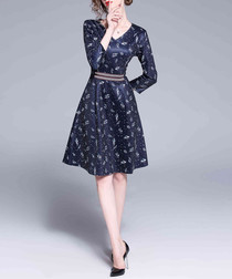 Navy & white print fit & flare dress