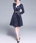 Navy & white print fit & flare dress Sale - Kaimilan Sale