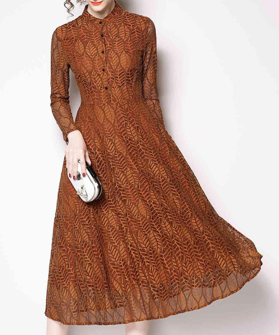 Caramel long sleeve midi dress Sale - Kaimilan