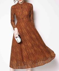 Caramel long sleeve midi dress