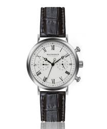 Wiesbaden black leather moc-croc watch