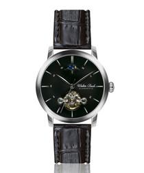Miltenberg black leather moc-croc watch
