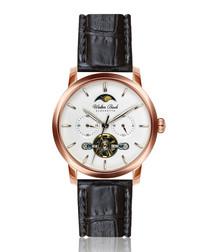 Dinkelsbuhl black leather moc-croc watch