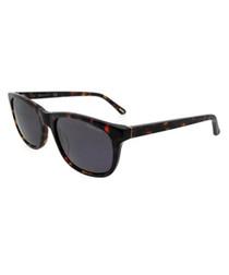 Havana slim D-frame sunglasses
