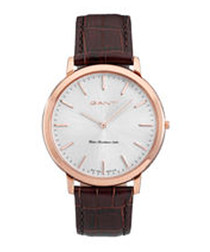 Walnut leather & stainless steel watch