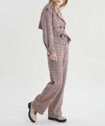 Tan check linen & cotton jacket