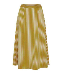 Yellow stripe midi skirt