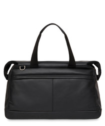 Milton black leather duffle messenger
