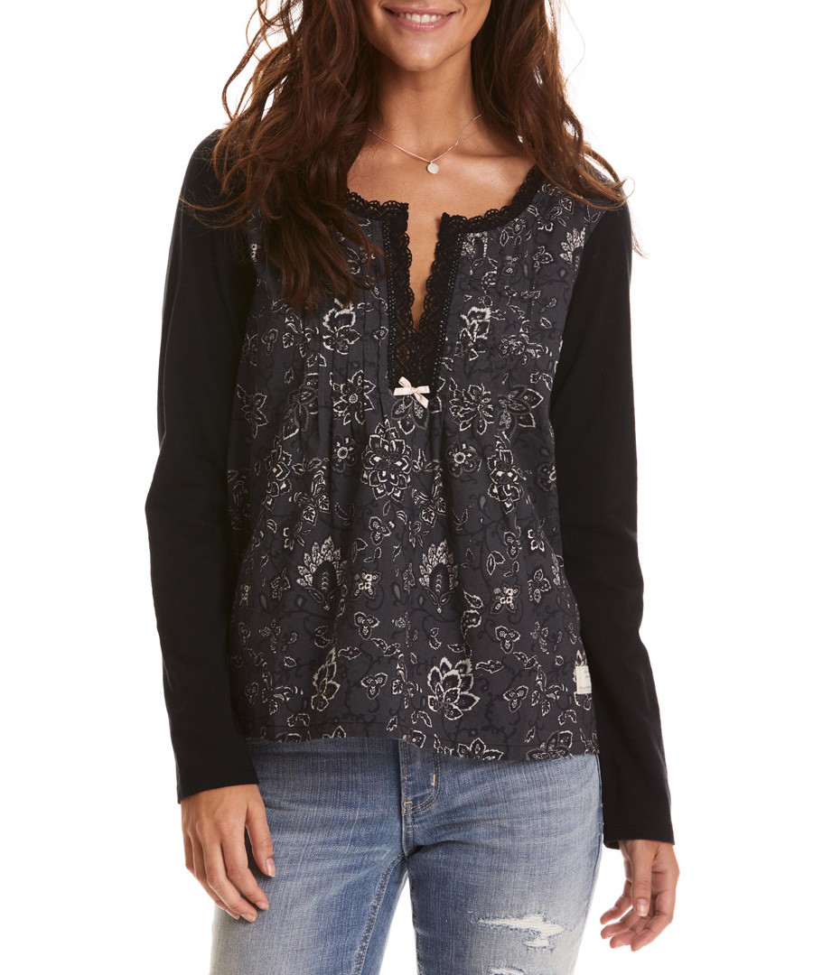 Lacey off-black pure cotton garden top Sale - Odd Molly