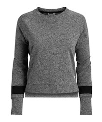 Grey melange cotton blend sweatshirt