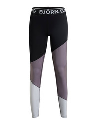 Black & lilac contrast sports leggings