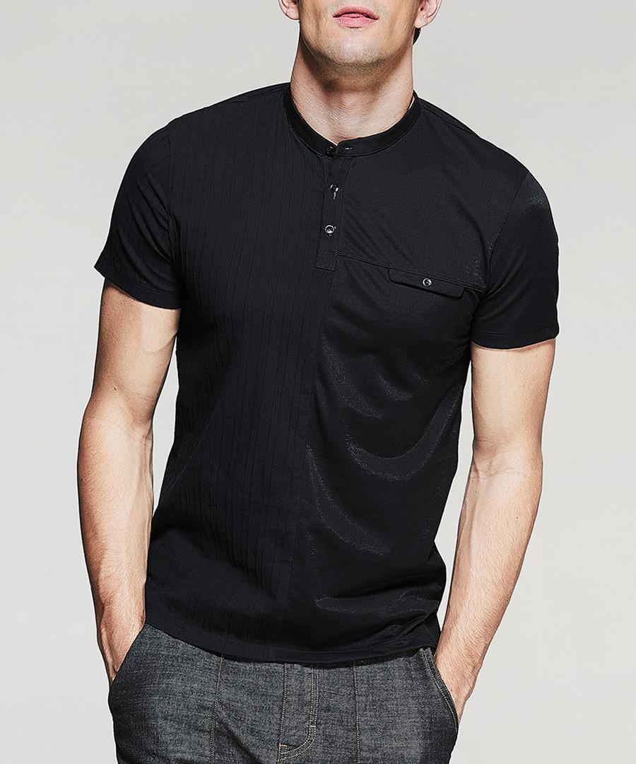 black cotton stretch polo shirt Sale - kuegou