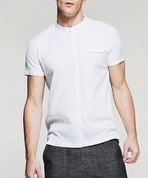 white cotton blend bar collar T-shirt