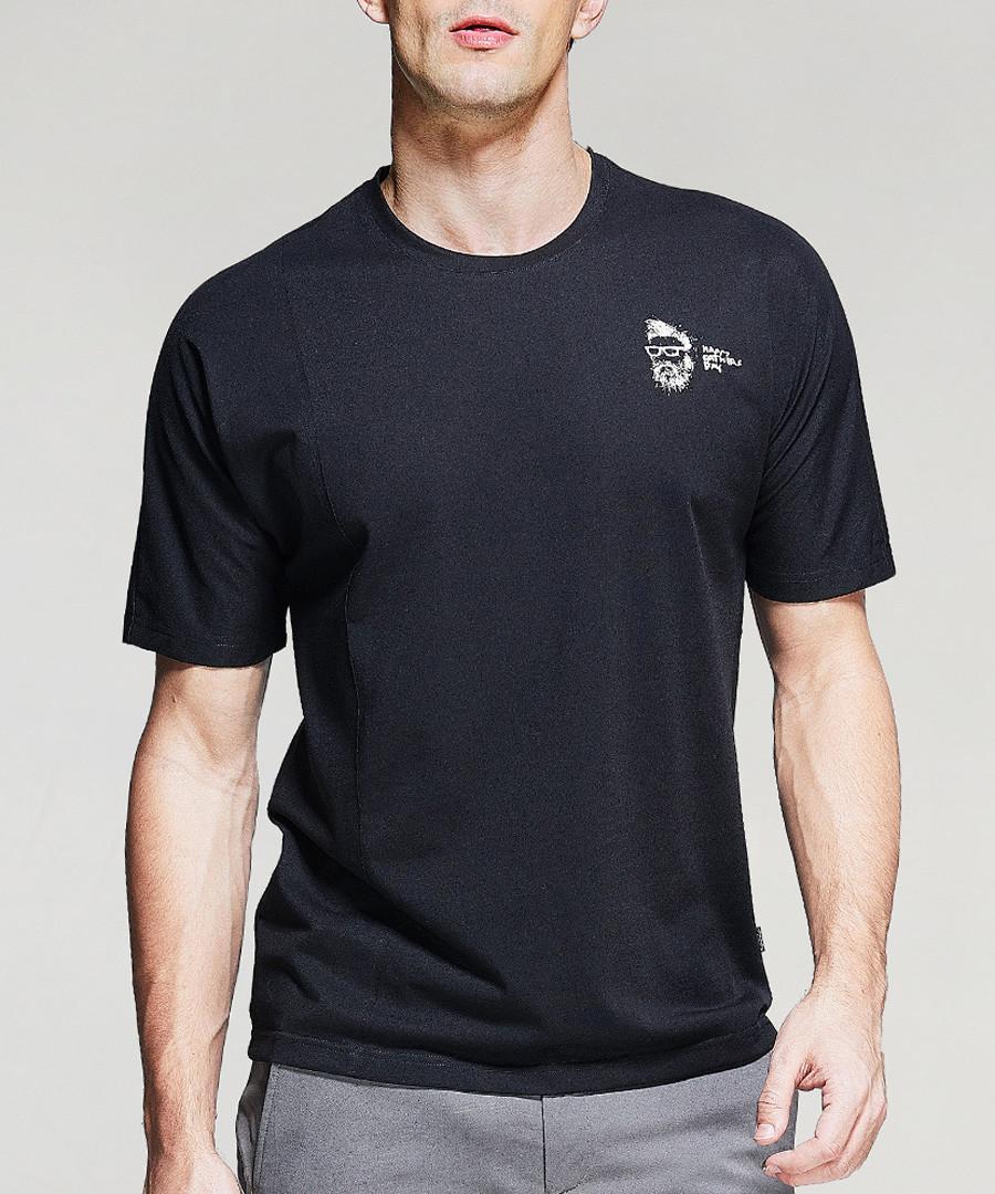 black cotton blend crest T-shirt Sale - kuegou