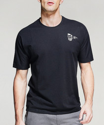 black cotton blend crest T-shirt