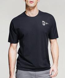 black cotton blend crest T-shirt