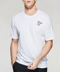 white cotton blend crest T-shirt