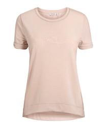 Peach whip cotton logo T-shirt