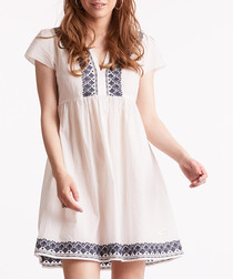 Oh Mine chalk & blue pure cotton dress