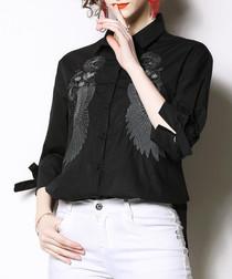 Black wing print long sleeve shirt