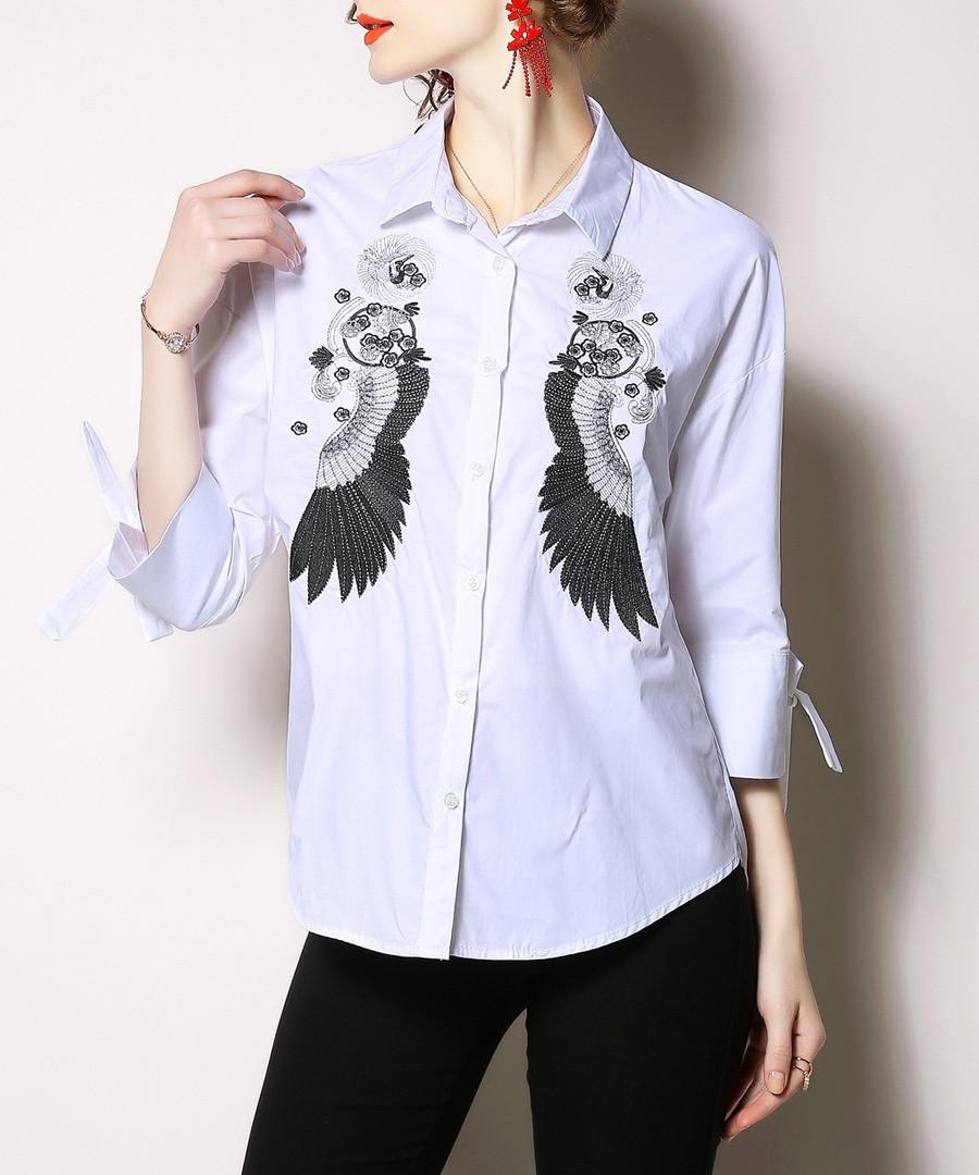 White wing print long sleeve shirt Sale - Kaimilan