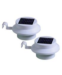 2pc white solar gutter light set