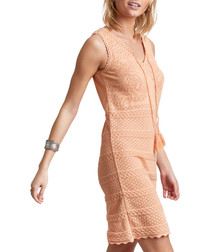 Sum Up peach pure cotton fitted dress