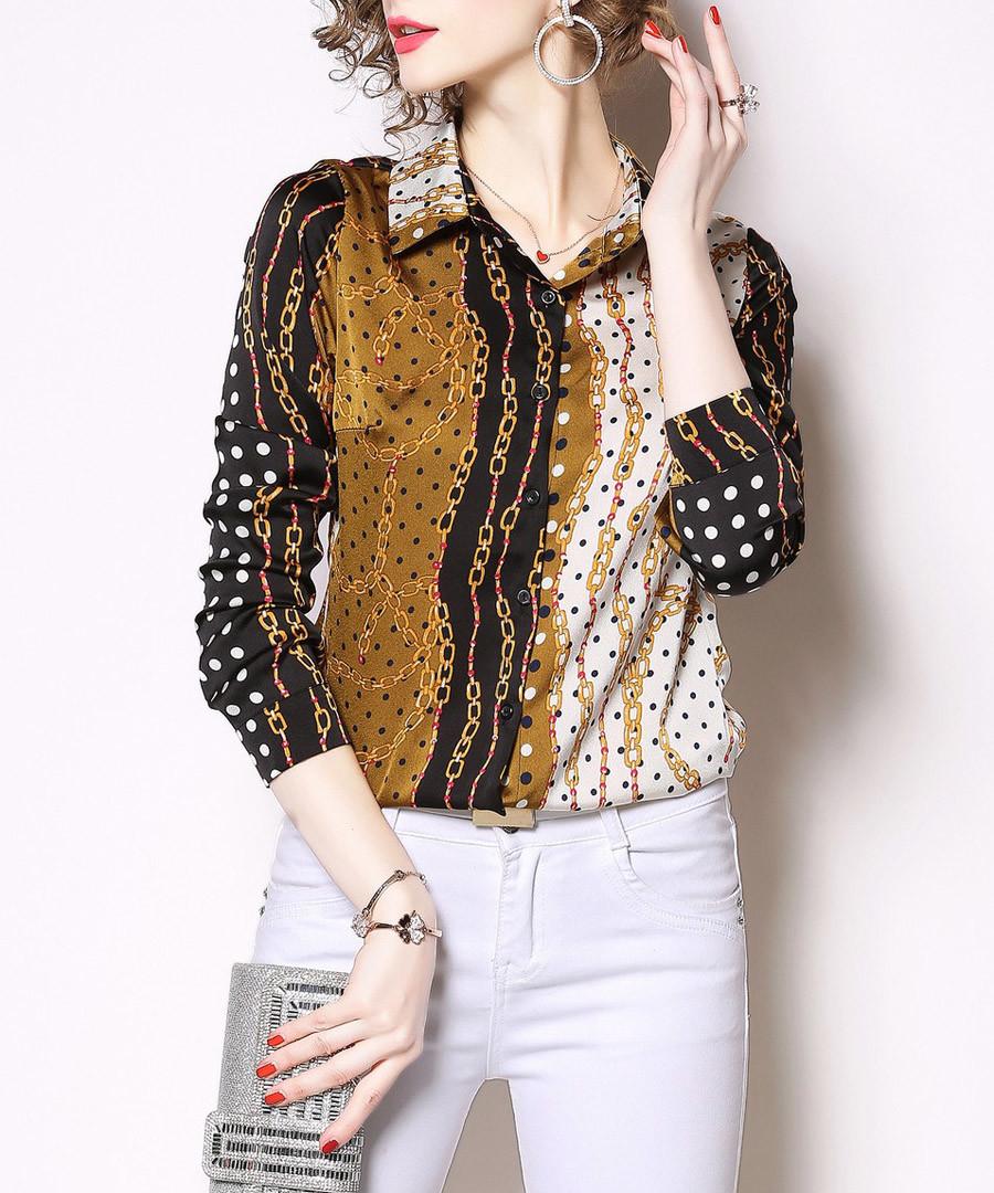 Black & bronze print long sleeve shirt Sale - Kaimilan