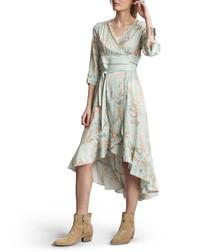 Delicate ash green wrap midi dress