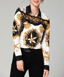 Black & gold print long sleeve shirt