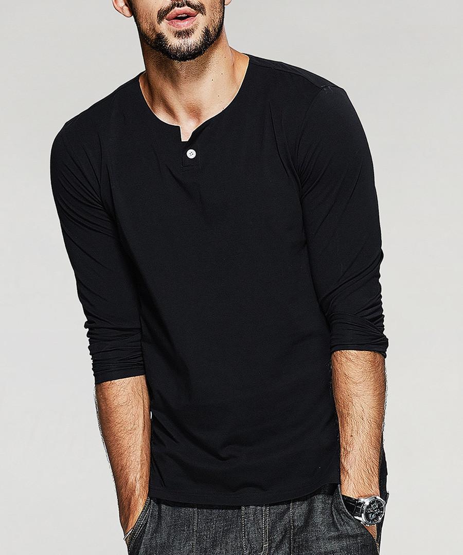 black cotton stretch bar collar shirt Sale - kuegou