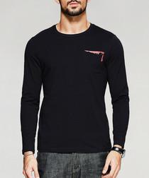 black pure cotton long sleeve T-shirt