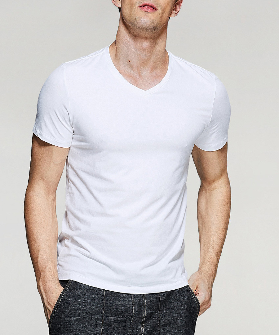 white cotton stretch V-neck T-shirt Sale - kuegou