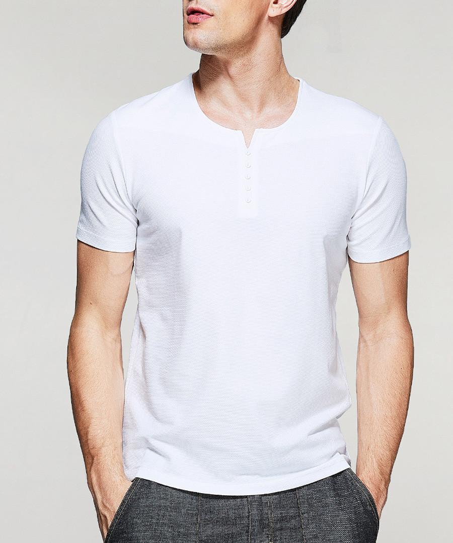 white cotton stretch button T-shirt Sale - kuegou