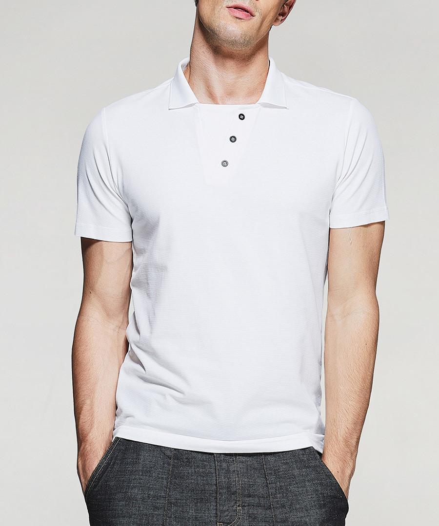 white cotton abstract polo shirt Sale - kuegou