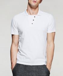 white cotton abstract polo shirt