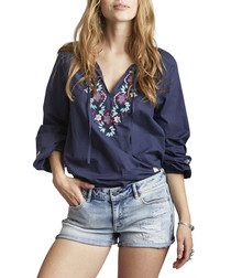 Dance Out navy pure cotton sleeve blouse