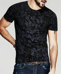 black cotton blend brocade T-shirt