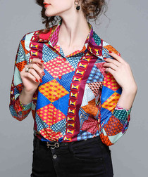 Multi-colour print button-up shirt
