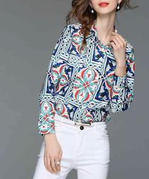 Blue tile print button-up shirt