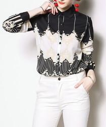 Black & apricot print long sleeve shirt