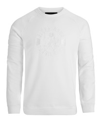 Brilliant white crew neck sweatshirt