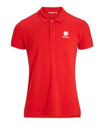 Chinese red pure cotton polo shirt