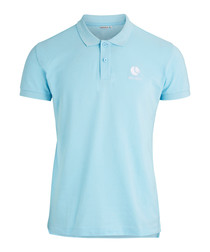 Crystal blue pure cotton polo shirt