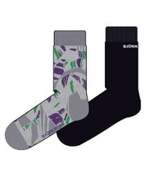 2pc Grey tropic leaf socks set