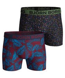 2pc Navy palm print boxer set