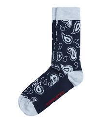 Peacoat paisley print socks