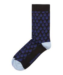 Black coral print socks