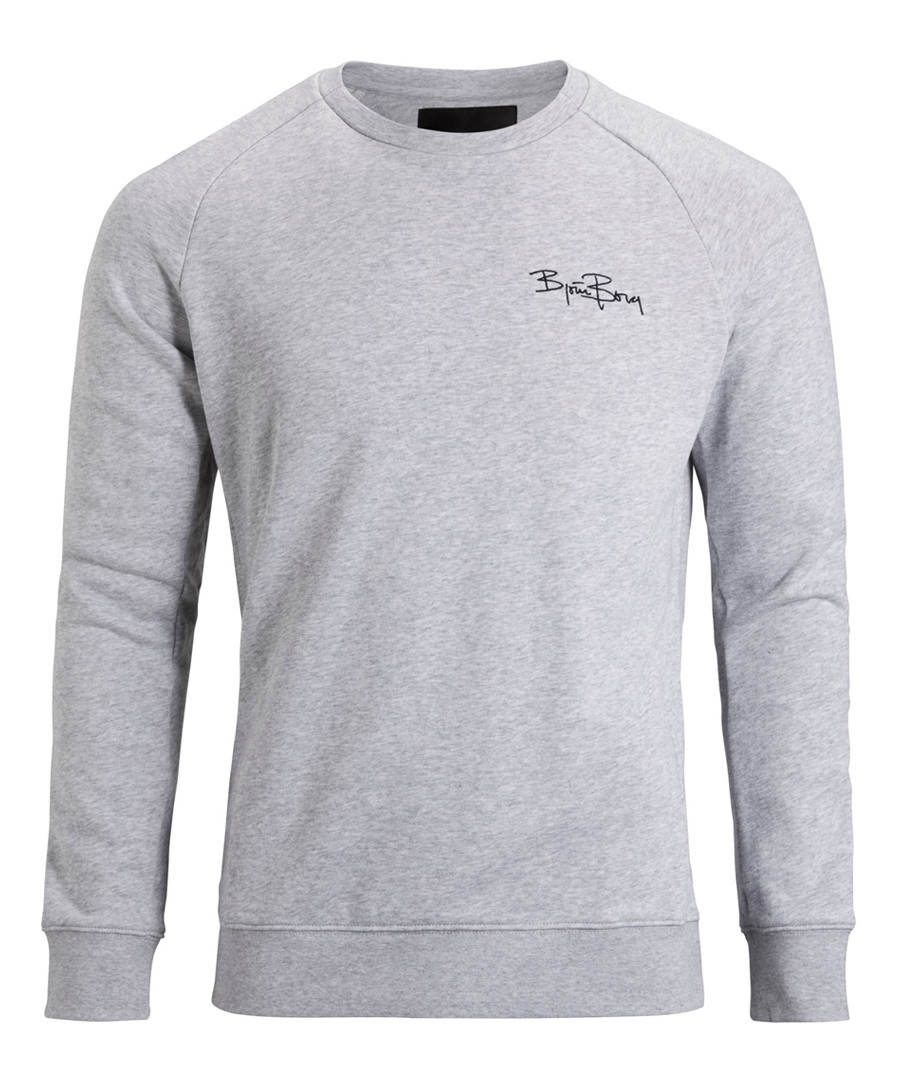 Grey melange pure cotton logo sweatshirt Sale - bjorn borg