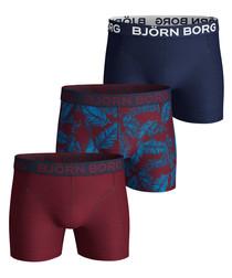 3pc Beet red palm print boxer set